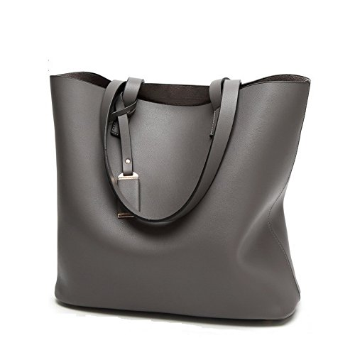 PU Vintage Leather Large Women Bags Dark Handbags Bag Grey 2PCs Shoulder JIARUO Tote pxqIw5XEW
