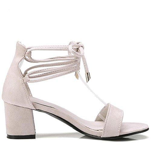 Bout 1 Beige TAOFFEN Chaussures Ouvert Femmes Sandales q5xYqaPw0