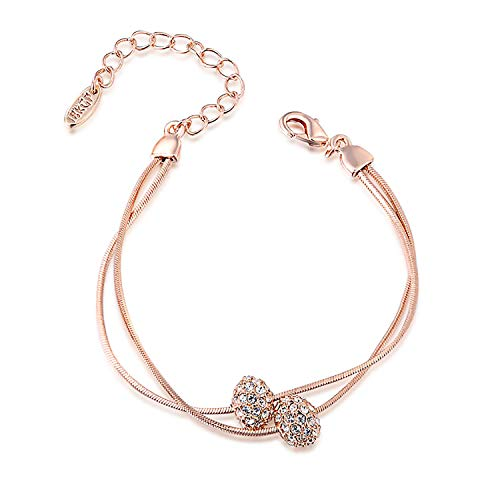 GEORGE · SMITH Women Austrian Crystals Iron Beads Rose Gold Silver 2-Strand Rope Chain Bracelet Wedding Gifts Bridesmaid Jewelry