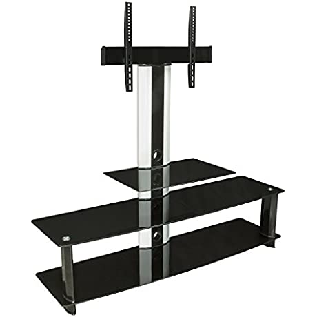 Mount It MI 869 TV Stand With Mount Entertainment Center For Flat Screen TVs Between 32 To 60 Inch 3 Glass Shelves And Aluminum Columns VESA Compatible TV Mount Black Silver