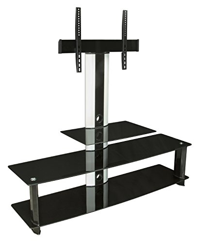 Log Corner Tv Shelf (Mount-It! MI-869 TV Stand with Mount, Entertainment Center for Flat Screen TVs Between 32 to 60 Inch, 3 Glass Shelves and Aluminum Columns, VESA Compatible TV Mount, Black/Silver)
