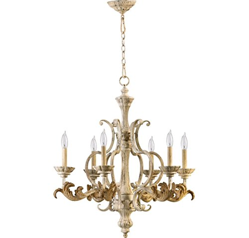 Chandelier Florence Light Six (Quorum Florence 6 Light Up Chandelier in Persian White)