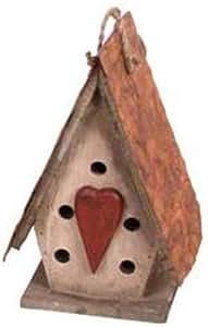 Decoración del jardín HT09003C Birdhouse, 25,4cm, crema
