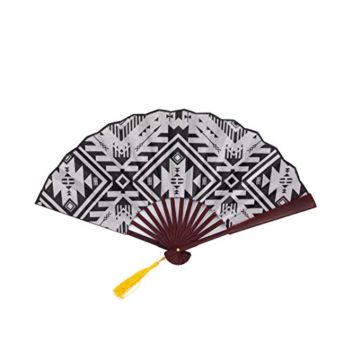 - SGFDH Japanese Bamboo Fan Black White Color Tribal Navajo with Bamboo Frame Tassel Pendant and Cloth Bag Cute Japanese Fan Girls Chinese Fan Foldable Bamboo Fan