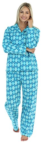 PajamaMania Women's Sleepwear Flannel Long Sleeve Pajamas PJ Set- Blue Argyle ()