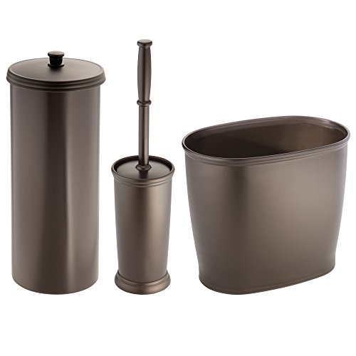 mDesign Bathroom Toilet Bowl Brush, Toilet Paper Roll Holder, and Wastebasket Trash Can - Set of 3, Bronze (Bath Holder Design Tissue)