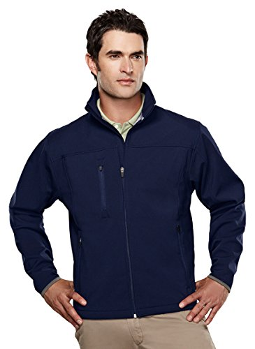 Tri-mountain Mens poly stretch bonded soft shell jacket. - NAVY/DARK GRAY - (Blue Micro Performance Fleece)
