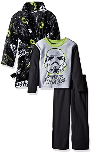 Star Wars Big Boys' 2-Piece Pajama Set with Robe, Galaxy Black, 10/12