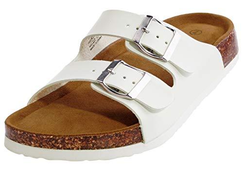 festooning Womens Walking Sandals 2-Strap Microfiber Leather Platform Comfortable White Cork Sole Slide On Shoes 9 M US ()