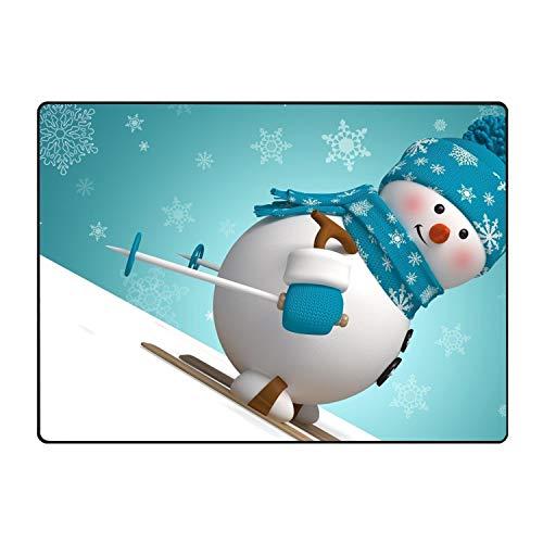 Khope Skating Snowman Printed Slip Resistant Rubber Back Runner Rug and Area Rugs 60 × 39