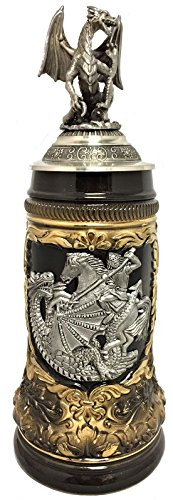 St. George the Dragon Slayer with Pewter Dragon Lid LE German Beer Stein .5 L ()
