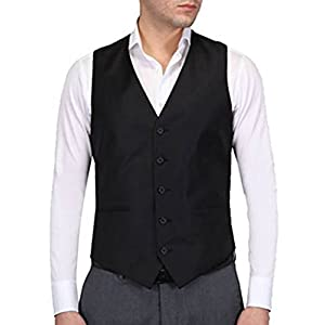 Hann Brooks Mens Black Formal Waistcoat S,M,L,XL,XXL,3XL,4XL,5XL