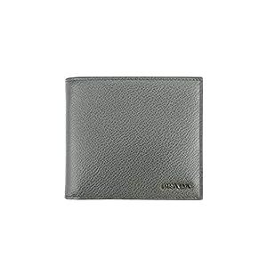 Prada Vitello Micro-grain Leather Bifold with Coin Pocket Bifold Wallet, Grey/black (Mecurio/nero)