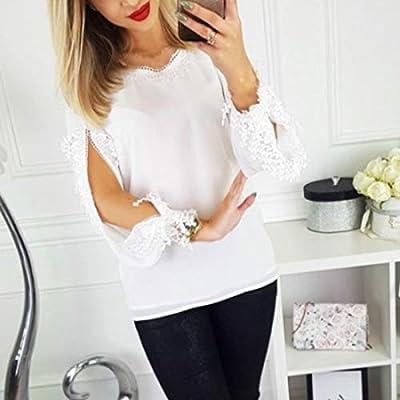 CHZDNSCS Camisa Blusa Suelta De Manga Larga De Gasa para Mujer Verano Encaje Casual Camisas Blancas S Blanco: Amazon.es: Deportes y aire libre