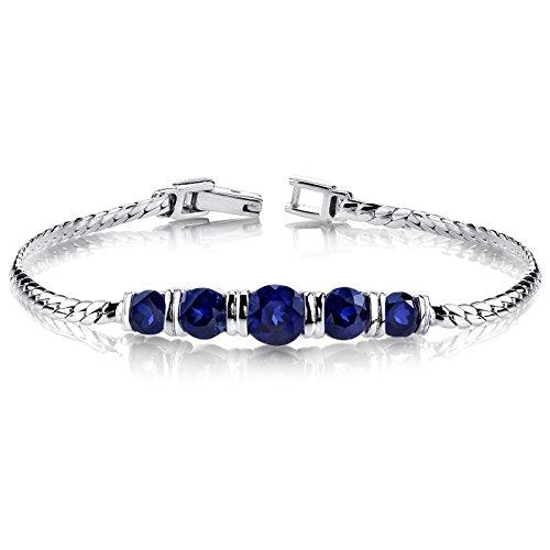- Created Sapphire Bracelet Sterling Silver 5 Stone Design