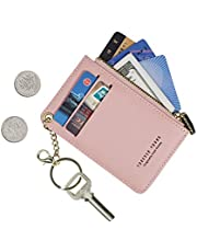 Small Wallets for Women Slim Leather Card Case Holder Wallet Coin Change Purse with Keychain