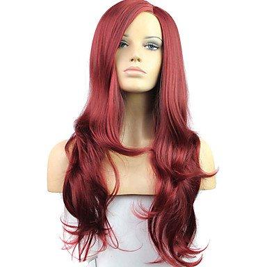 Peluca de encaje sintético para mujer, con peluca de cóctel, larga, ondulada,