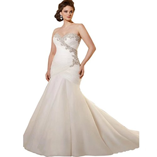DingdingMail Sweetheart Mermaid Wedding Dresses Plus Size 2017 Backless Crystal Beaded Bridal Gowns