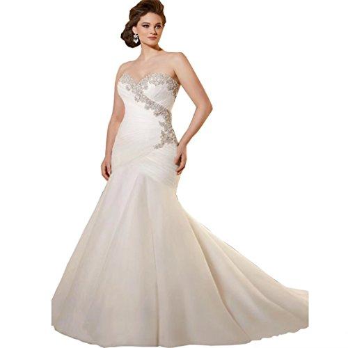 Dingdingmail Sweetheart Mermaid Wedding Dresses Plus Size 2017