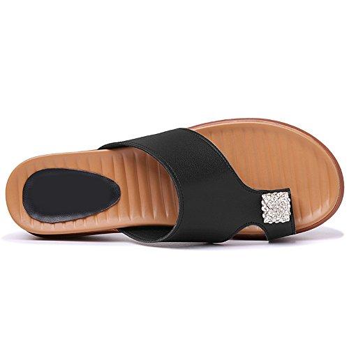 Sandalias Zapatillas Negro Strass Pantuflas Srta Summer De Playa Pedrería Y q107IHwB