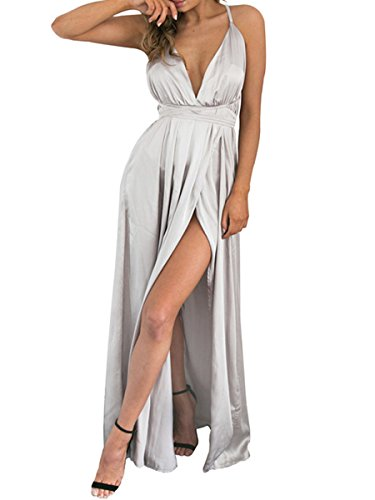BerryGo Women's Sexy Sleeveless Backless Deep V Neck Split Satin Long Party Dress Gown ()