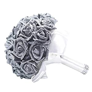 Vovomay Crystal Roses Pearl Bridesmaid Wedding Bouquet, Bridal Artificial Silk Flowers Decor (Silver) 103