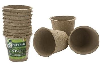 Juego de 12 redondo/compostables Biodegradable plantar macetas de turba - mejor Inicio para semillas y esquejes y siembra de: Amazon.es: Jardín