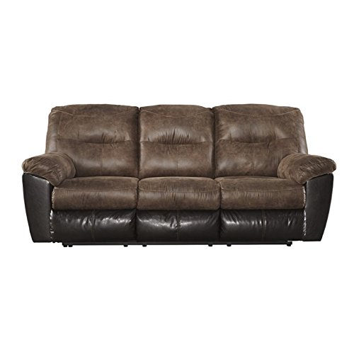 Ashley Follett 6520288 87″ Reclining Sofa with Split Back Cushion Jumbo Stitching Pillow Top Arms and Fabric Upholstery in Chocolate