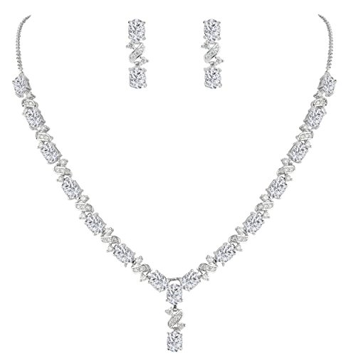 EleQueen Women's Silver-Tone Cubic Zirconia Oval Shape Leaf Necklace Earrings Set for Brides and Weddings Clear