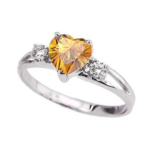 (Precious 10k White Gold November Birthstone Heart Proposal/Promise Ring with White Topaz (Size 7))