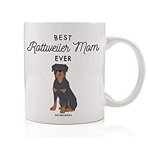 Best Rottweiler Mom Ever Coffee Tea Mug Gift Idea Mommy Mother Mama Loves Black & Brown Rottie Family Protector Adopted Rescue Dog 11oz Ceramic Cup Christmas Mother's Day Present by Digibuddha DM0505 4
