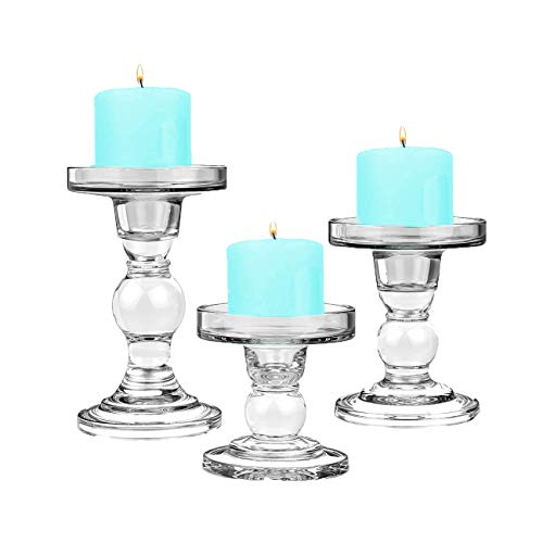 CYS EXCEL Glass Candle Holders for 3