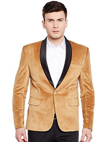 WINTAGE Men's Premium Velvet Notch Lapel Tuxedo Coat Blazer Jacket: Gold, 5XL -