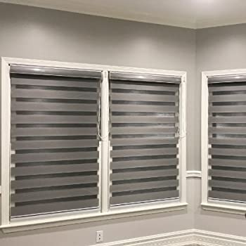 grey window blinds design custom size basic horizontal zebra blinds windows max width 93 amazoncom schrling no drill light filtering sheer blind shade