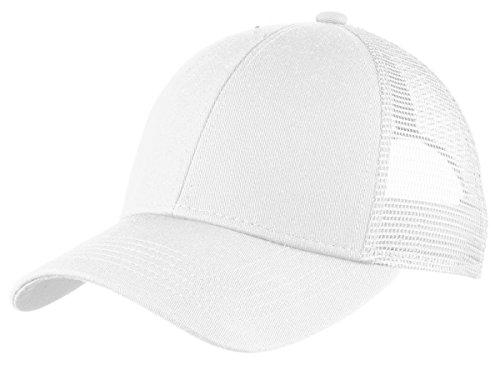 (Port Authority Men's Adjustable Mesh Back Cap, White, One Size)