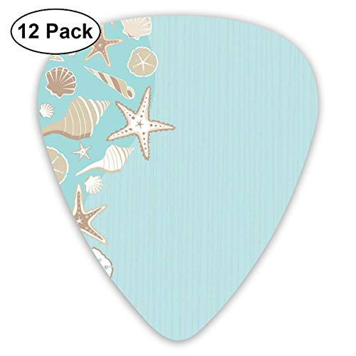 Celluloid Guitar Picks - 12 Pack,Abstract Art Colorful Designs,Thin Lines And Various Creative Seashells Beach Party Theme,For Bass Electric & Acoustic Guitars.