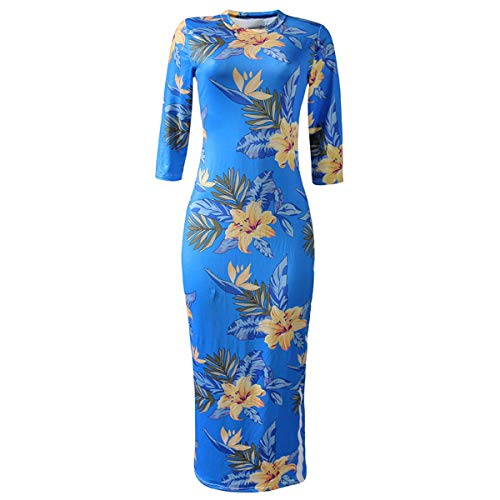 Manera de de Deportes tamaño impresión de Medias Flor los Medias de Color Delgadas la Cuello Las Vestido M la la de Azul del xYq7XfwXA