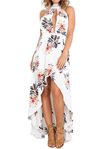ZESICA Womens Halter Neck Floral Printed High Low Beach Party Maxi Dress