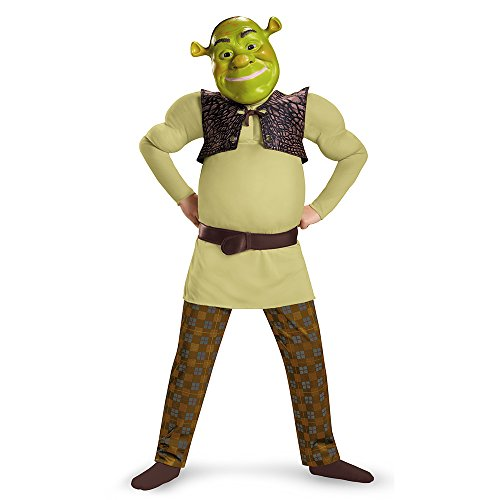 Shrek Costumes Kids Mask (Shrek Classic Muscle Costume, Medium (7-8))