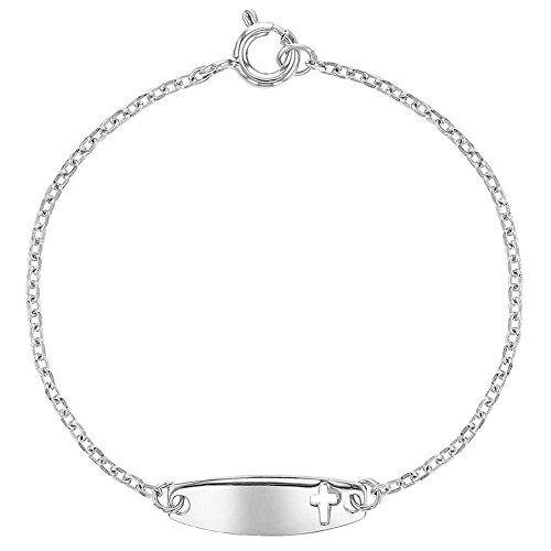 925 Sterling Silver Identification Tag ID Religious Cross Bracelet Infants Kids 5