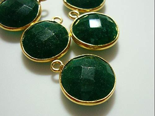 Handmade Dyed Emerald Vermeil Over Sterling Silver Bezel Rim Round Pendant Charm, 16x13mm, 1 pc