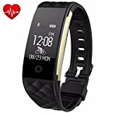 Fitness Tracker - Juboury Heart Rate Activity Tracker Touch Screen Wearable Pedometer Bluetooth Smart Wristand with Sleep Monitor - Steps Counter - Calories Track for Android and IOS Smart Phones(Black)