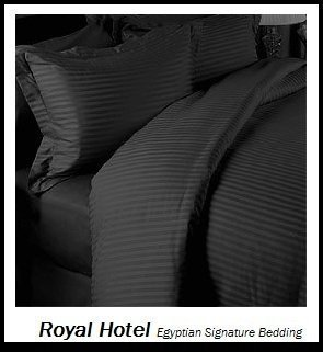 - Royal's Striped Black 300-Thread-Count 4pc Olympic Queen Bed Sheet Set 100-Percent Cotton, Sateen Striped, Deep Pocket