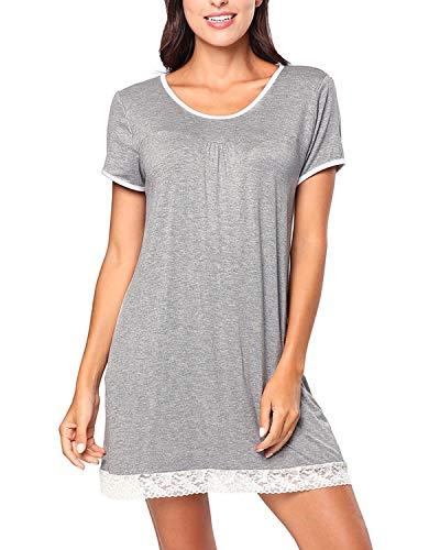 BELLEZIVA Women Short Sleepwear T Shirt Pajamas Oversized Nightshirts Scoopneck Short Sleeve Tunic Sleepshirt Gray