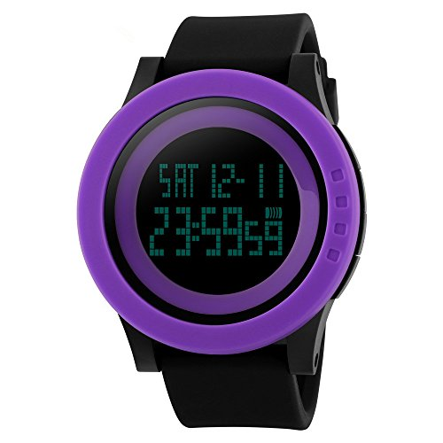 Heroway Minimalist Fashion Digital LED Waterproof Sport Couple Watch with Simple Design Big Dial for Outdoor Casual Military (purple black band) (Chrono Watch Watch Sport Toy)
