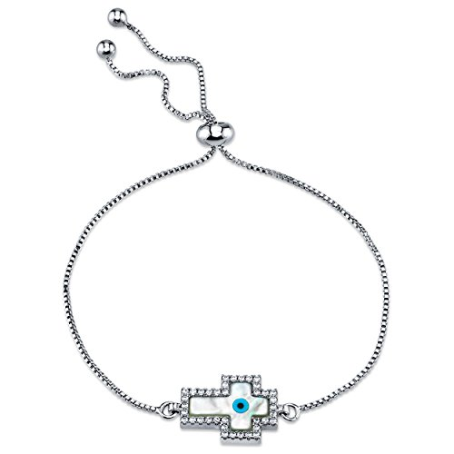 Metal Masters Co. Mother of Pearl Cross Evil Eye Bolo Bracelet with Cubic Zirconia Adjustable up to 8.5