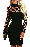 AMiERY Women's Black Hollow Out Bandage Clubwear Long Sleeve Bodycon Dresses S-XL
