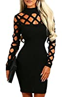 AMiERY Women's Black Hollow Out Bandage Clubwear Long Sleeve Bodycon Dresses S-XL