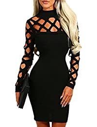Women's Hollow Out Dress Bandage Clubwear Long Sleeve Bodycon Dresses