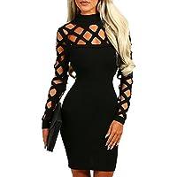 AMiERY Women's Hollow Out Dress Bandage Clubwear Long Sleeve Bodycon Dresses